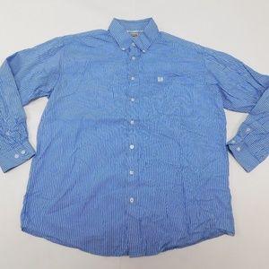 CINCH L Blue Button Down Shirt  Cotton